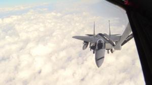 340th EARS Refuel Strike Eagles Over Iraq (B-roll)