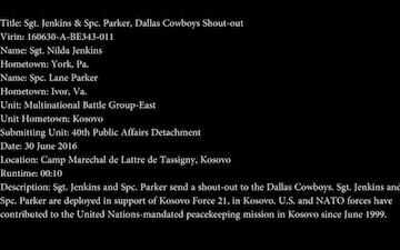 Sgt. Jenkins & Spc. Parker, Dallas Cowboys Shout-out