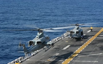 AH-1Z Viper Helicopter Takes Off from Deck of USS Boxer