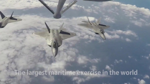 F-22 Raptors Receive Fuel from KC-135R Stratotanker