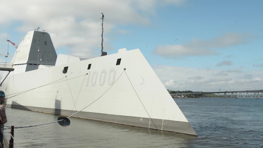 The future USS Zumwalt (DDG 1000) gets underway in Bath, Maine to join the fleet. The guided-missile destroyer is the lead ship in the Zumwalt class and the first ship to be named for Adm. Elmo Zumwalt.  