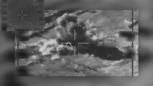 Coalition airstrike destroys a Da'esh tank and artillery piece near Palmyra, Syria