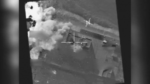 Coalition airstrike destroys a Da'esh weapons cache near Mosul, Iraq.