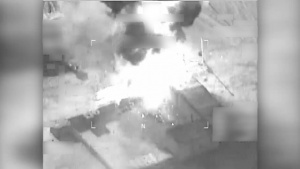 Coalition airstrike destroys a Da'esh tactical vehicle near Bay Ji, Iraq.