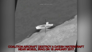 Coalition airstrike destroys a Da'esh watercraft near Mosul, Iraq