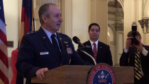 Adjutant General of Colorado, Maj. Gen. H. Michael Edwards, speaks at the opening of the Colorado General Assembly's Military and Veterans Appreciation Day