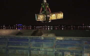 Flushing Bay Night-time Barge Removal Operation