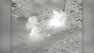 Coalition airstrike destroys an ISIS VBIED facility near Mosul, Iraq.