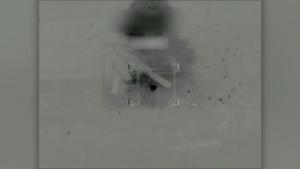 Coalition airstrike destroys an ISIS tank near Palmyra, Syria.