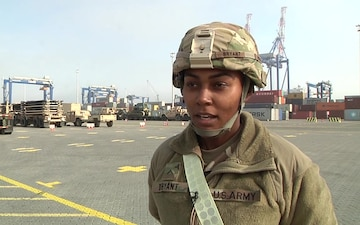 497th CSSB Arrives In Europe, PVT Porche Bryant Interview