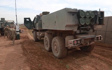 U.S. Soldiers Prepare Their M142 High-Mobility Artillery Rocket System Vehicles to be Moved