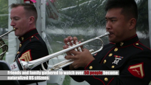 Marine Corps Band New Orleans performs at Four Freedoms Park for Naturalization Ceremony