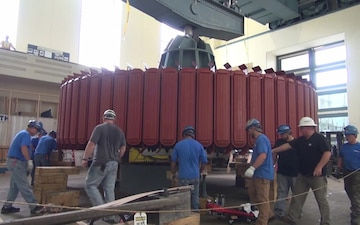 Hydropower Rotor Install Requires Heavy Lifting