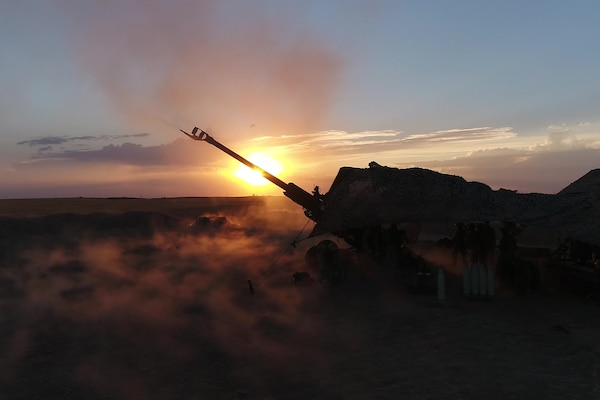 BROLL: U.S. Marines conduct artillery strikes against ISIS in Syria(Drone footageW/60,120 FPS)