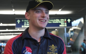 Austrian Navy Pilot Officer Jesse Constello Arrives in Chicago for the 2017 DOD Warrior Games