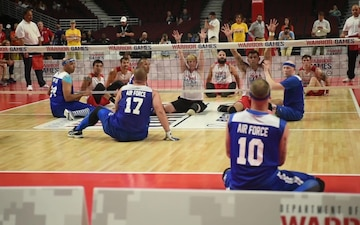 Team Air Force and Team Marines battle for Sitting Volleyball Bronze
