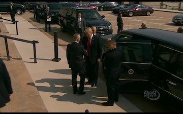 President Trump Meets With Defense Secretary and Others at Pentagon