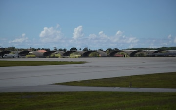 Two B-1B Lancers take off from Andersen Air Force Base, Guam