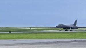 B-1B Lancer take-off at Andersen AFB, Guam (broll)