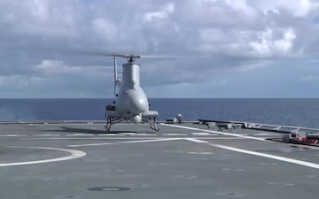 MQ-8B Fire Scout operations during haproon missile launch