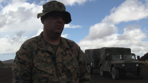 Chaplain Len Driskell provides religious service to Marines on Hawaii