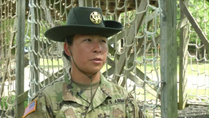 Army Reserve Drill Sergeant part of first Army Reserve permanent basic training battalion.