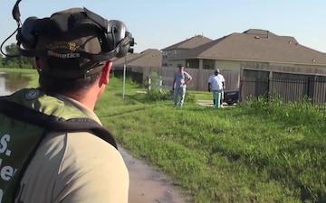 U.S. Border Patrol Air Boat Searches Flooded Neighborhood