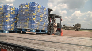 Army Reserve fly water to Hurricane Harvey affected areas