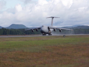 Footage of 0461, the final C-5A departs Westover ARB
