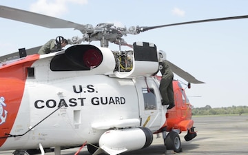 Aircrew members from Coast Guard Air Station Clearwater arrive at Air Station New Orleans in advance of Hurricane Irma, Saturday, Sept. 9, 2017. The Clearwater crews and aircraft will be staged in New Orleans until Irma passes through Clearwater and the crews can safely return and operate in Florida. U.S. Coast Guard video by Petty Officer 3rd Class Andrew Barresi
