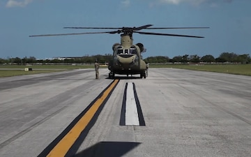 Air assets from the Pennsylvania Army National Guard stage in Southern Florida