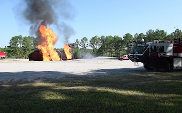 Swamp Fox firefighters re-qualify on aircraft fire simulator