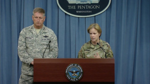 Military Officials Brief Reporters on Hurricane Relief