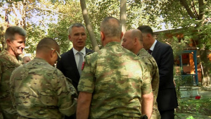 NATO Secretary General and US Secretary of Defense engage with troops in Kabul, Afghanistan