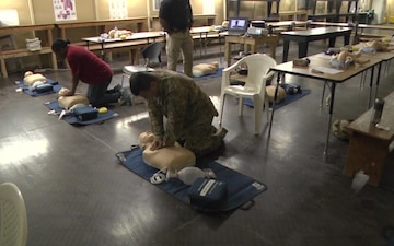 Soldiers conduct CPR Training at Camp Buehring, Kuwait