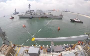 USS John S. McCain time laps of move to heavy lift
