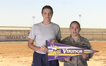 SrA Taylor Kolu and SSgt Heidi Knower Shout Out - Minnesota Vikings