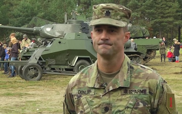 Dagger Brigade Soldiers display vehicle for Polish community BROLL
