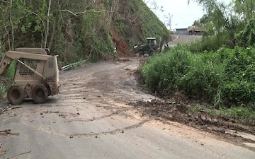 Army Reserve Engineers clear roads near Añasco, Puerto Rico