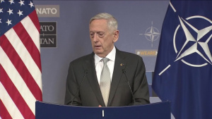 Mattis Holds News Conference at NATO Headquarters
