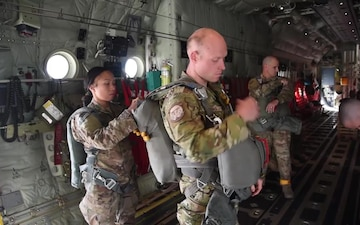 Ramstein C-130 Transports Parachute Jumpers