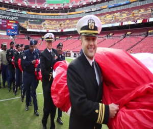 D.C.-area service members participate in the Washington Redskins Salute to Service match-up