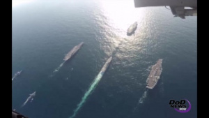 Navy Highlights Capabilities with Tri-Carrier Exercise