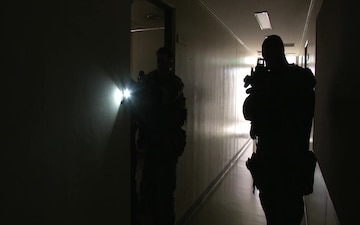 Marines train in close quarters to defend threats to the air station (B-Roll)