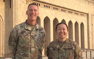Army Colonel Ryan Dillon and Staff Sergeant Yer Yang holiday shout out