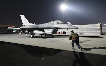 An F-16 Fighting Falcon from the 77th Expeditionary Fighter Squadron, Bagram Airfield, Afghanistan, prepares for a mission in support of new ofensive campaign.