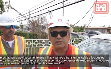 Corps of Engineers performs electric line work in Aguadilla, Puerto Rico