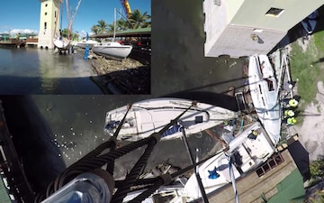 Maria ESF-10 PR Responders Salvage the Sailing Vessel Dragon Fly in Ponce, Puerto Rico