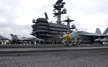 Aircraft Attached to USS Ronald Reagan (CVN 76) Conduct the Carrier Air Wing Five Fly-Off