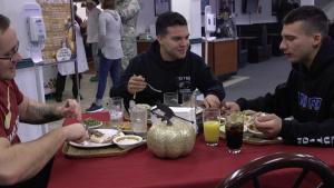 Mountain Home Air Force Base leadership serve Airmen Thanksgiving dinner